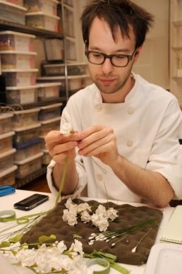 Here is Jason when we both worked at Ron Ben-Israel Cakes tying sugar flowers.