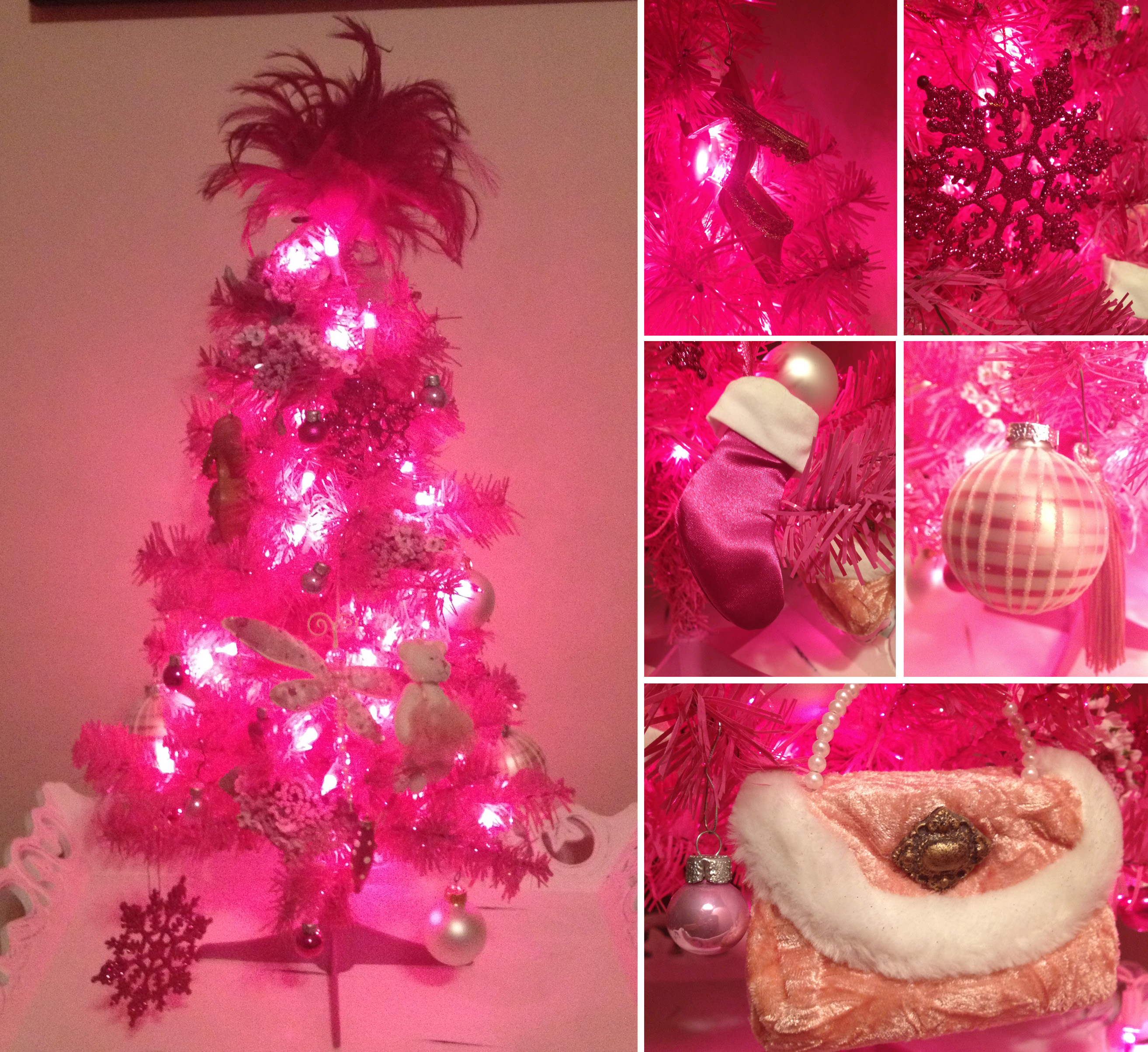 I love my pink tree, it stands about 2 feet tall and has pink lights on it  as well.