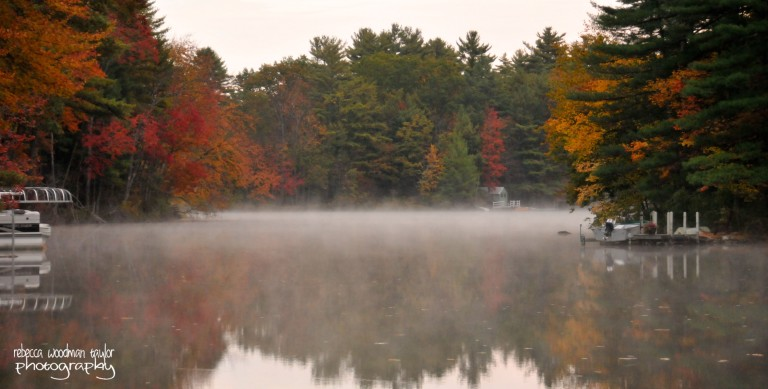 My brother and his family live in the beautiful small town of Strafford, NH on Bow Lake.  This shot was taken very early in the morning before the fog lifted and the sun came shining through.