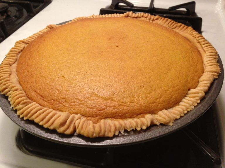 Squash Pie 1 can One-Pie Squash or 2 cups strained squash (well strained) 1 cup sugar 2 eggs 1 ¼ cups milk or 1 12-ounce can of evaporated milk ½ teaspoon salt ¼ teaspoon mace or nutmeg ¾ teaspoon cinnamon Mix sugar, salt and spices. Blend well into squash. Beat 2 eggs separately, add milk stir well and then blend into squash mixture. Pour mixture into a 9-inch pie plate lined with crust. Pre-heat oven for 425 degrees and bake for 10 minutes to set pie crust. Then finish baking at 325 degrees for an additional 35 minutes or until knife comes out clean. Serve with fresh whipped cream.