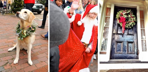 First of all Miss Comet greeted guests on the side walk with her owner from Morning Dew Flowers on Orange Street.  And of course you can't have a holiday stroll without Santa!  We met him at the docks and walked into town with him so he could visit with all of the little ones.
