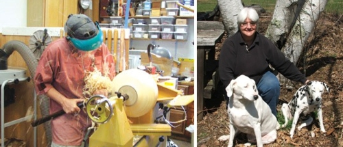 Sharon is on the left working in their studio, Paul is on the right with some of their furry friends.