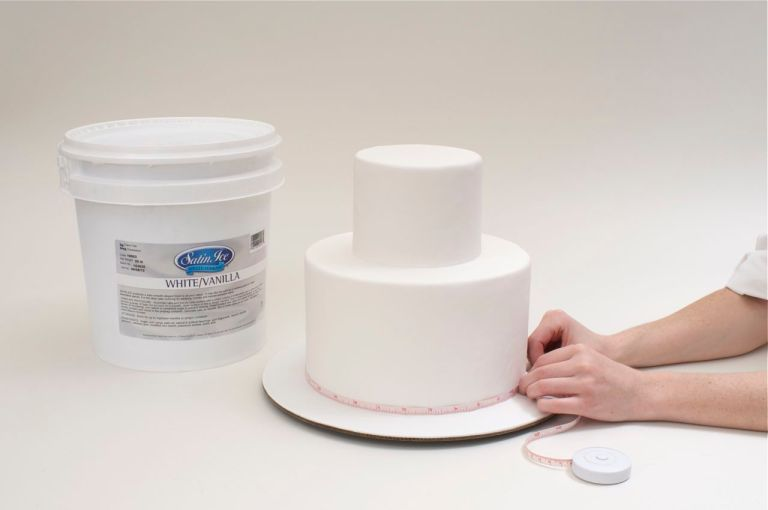 Begin with a two-tier cake covered with Satin Ice Fondant.  Measure the circumference of each tier.