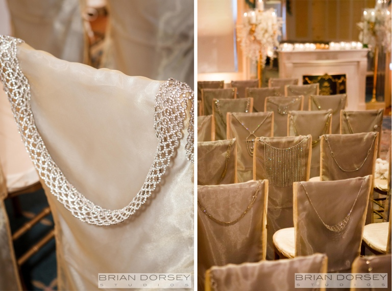 Each of the 63 chairs were fastened on the back with vintage rhinestone necklaces and belts.