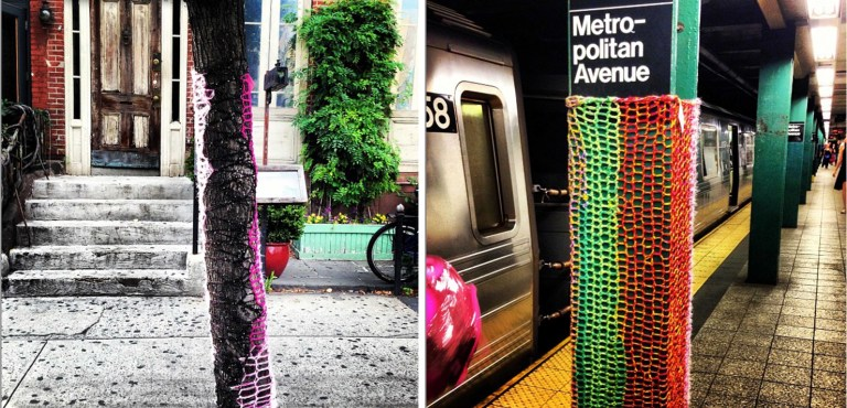 Her 20 (50) challenge started with covering trees in colorful yarn, it then escalated into something so much more.  (photos courtesy of London Kaye)
