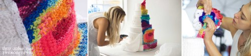 Remember, the colored sections of this cake were crocheted blindfolded!  Like Ron, not only does she use bold colors fro drama, but loves to use various kinds of yarn to add texture and interest to her installations.